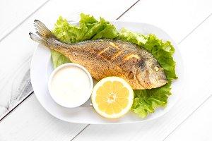 Delicious grilled dorado fish