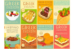 Greek Food Posters Set
