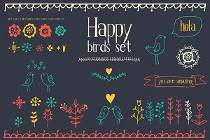 Happy birds graphic elements