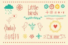 Little birds graphic elements