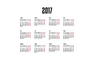 2017 simple calendar.