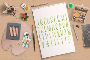 Green watecolor letters