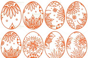 Hand drawn easter eggs