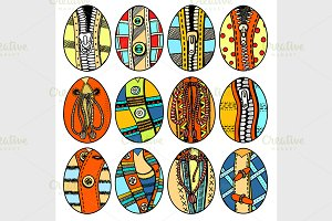 Set of Hand drawn easter eggs