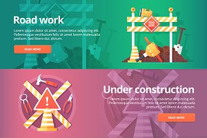 Flat Construction Vector Banners Set