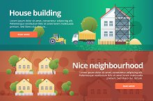 Real estate flat concept banners set
