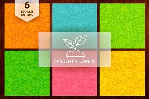 Garden & Flowers Line Tile Patterns