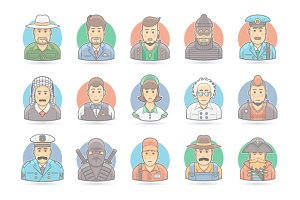 Flat People Cartoon Icons Set