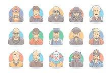 Flat People Cartoon Icons Set