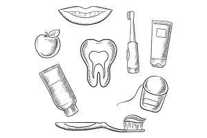 Dental hygiene medical icons