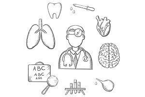 Medical sketch icons