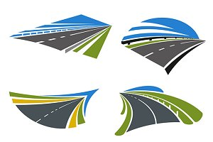 Highways and roads icons