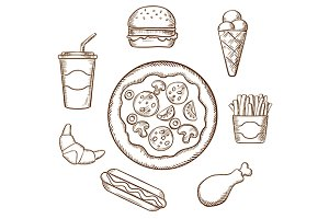 Fast food in sketch style