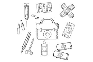 Ambulance and medical sketch icons