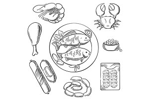 Seafood and meat sketched icons