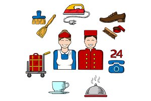 Hotel and room service sketch icons
