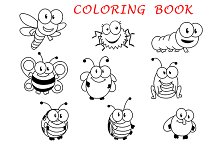 Cartoon funny outline insects