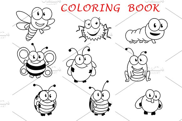 Cartoon funny outline insects ~ Graphics ~ Creative Market