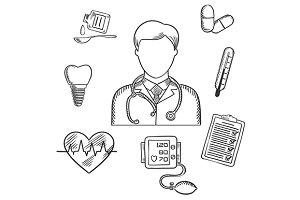 Hand drawn medical items and doctor