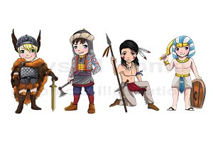 Ancient cartoon warrior set 2