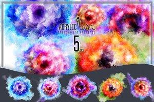 5 acrylic flowers.