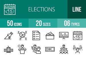 50 Elections Line Icons