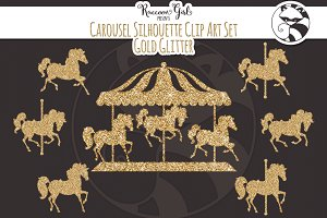 Gold Glitter Carousel Clip Art Set