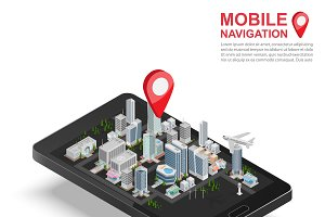 3d isometric mobile GPS navigation