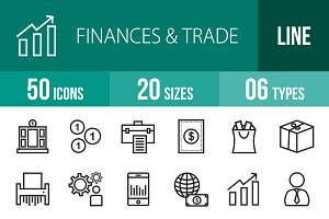 50 Finances & Trade Line Icons