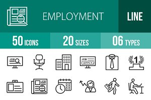 50 Employment Line Icons