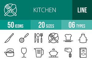50 Kitchen Line Icons