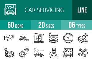 60 Car Servicing Line Icons