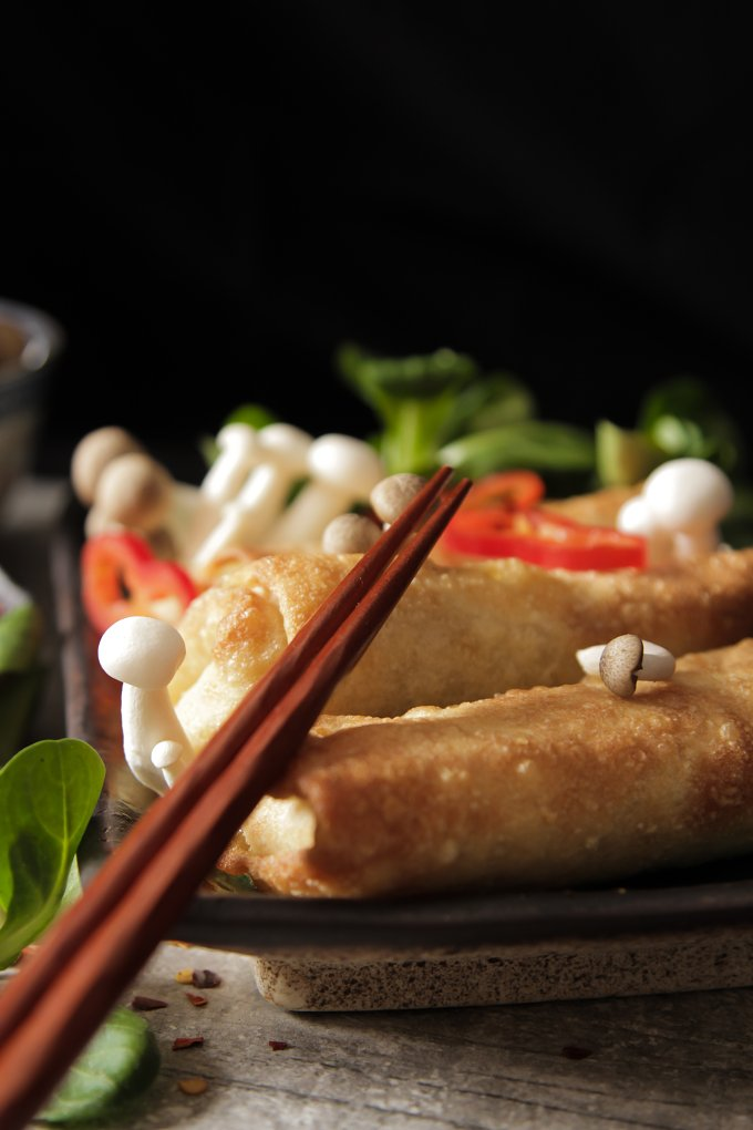 Japanese food style. Fried spring rolls with vegetables and shimeji mushrooms - Food & Drink