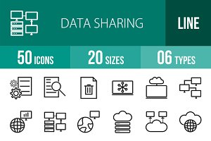 50 Data Sharing Line Icons