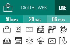 50 Digital Web Line Icons