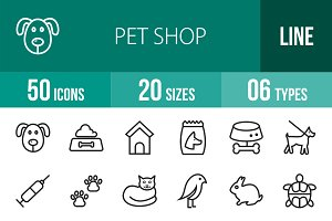 50 Pet Shop Line Icons