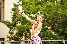 Teen Girl selfie in park