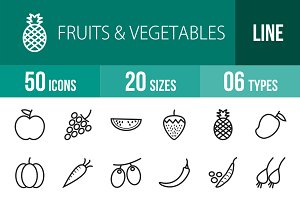50 Fruits & Vegetables Line Icons