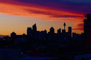 Sunset skyline silhoutte