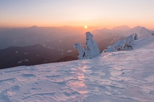 Sunset in the winter landscape