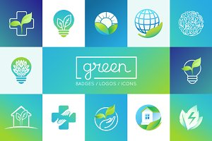 Green - 15 logos and badges