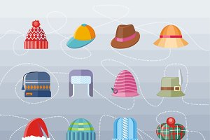 Set of Hat Flat Design Collection