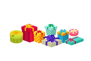 Set of Gifts Boxes Design Flat
