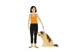 Vector girl with dog Isolated