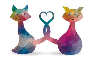 low poly love cats icon