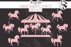 Pink Glitter Carousel Clip Art Set
