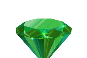 Shiny green emerald on white