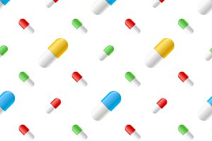 Many colourful pills capsules