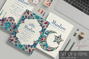 Set of islamic ornament cards