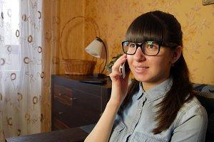 Girl talking at home